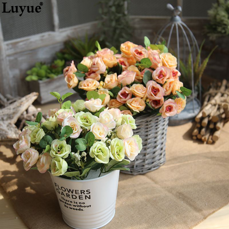 Luyue 10 Heads Fake Flower Persian Rose Artificial Rose Flower Wedding Decor Silk Wreath Simulation Fake Cloth Flower Bouquet
