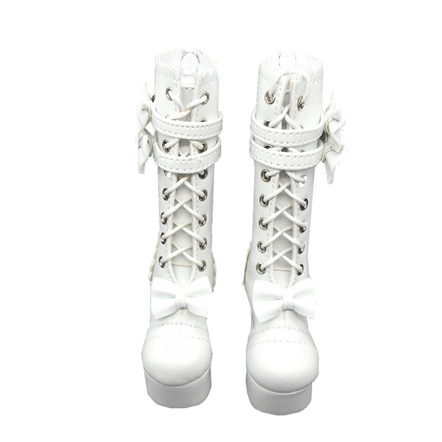 1/4 S91 Lolita High Heel BJD Doll Shoes, White Lace Up Women's Boot For BJD Dolls,Doll Accessories
