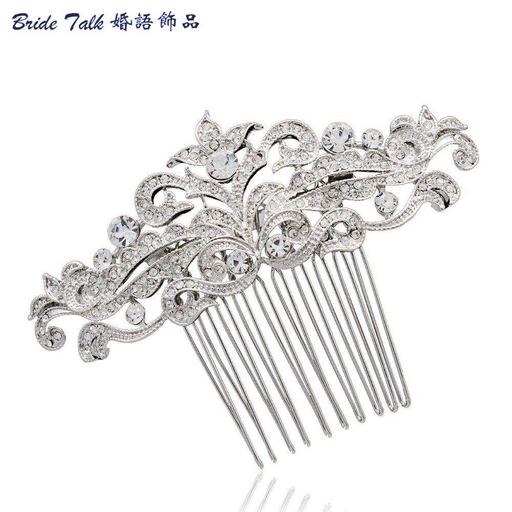 Retro Flower Hair Pins Comb for Women Wedding Hair Accessories Clear Rhinestone Crystal Fashion Bridal jewelry Wholesale CO1455R