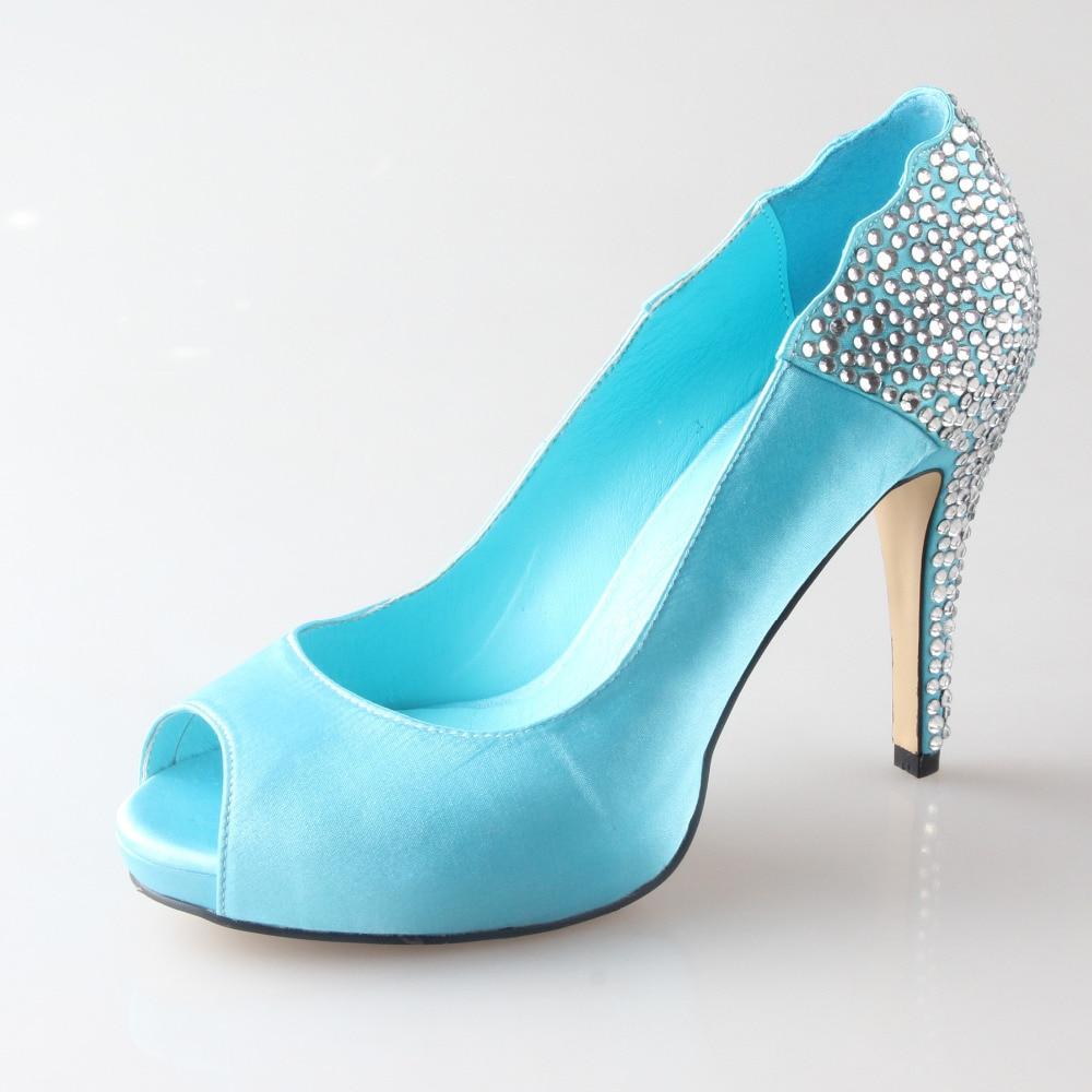 Aqua Azul Turquesa Toe Rhinestone Boda Mujer Azules Nupcial Del A Fiesta Abierto Hecho Zapatos Mano Banquete De Peep Lago qtWxCnwE
