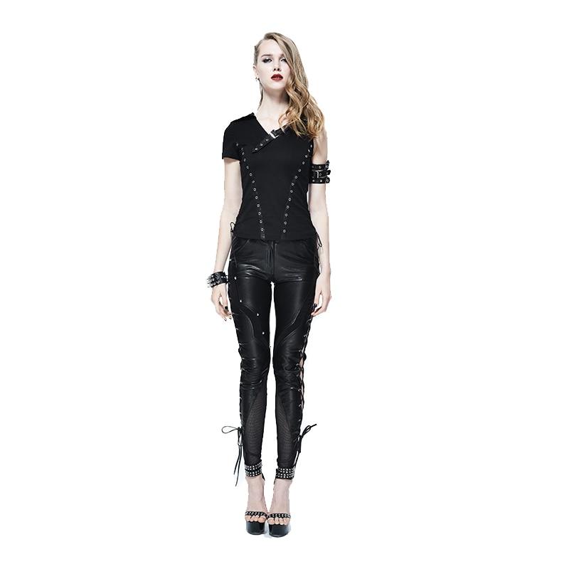 La Hueco Polainas Las Steampunk Pantalones Con Moda Diablo De Mujeres Negro Cuero Patrón Pu Casual Para Esqueleto xwA8EO