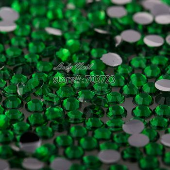 400 pcs 2mm - 6mm Mix Size Dark Green Emerald Resin Acrylic Round Rhinestone Crystal Rhinestones Nail Art Decoration N19 image