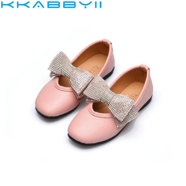 Cute Children Shoes Girls Flats Spring Autumn Girls Princess Casual Singel  Shoes Rhinestone Bow Fashion Soft Shoe