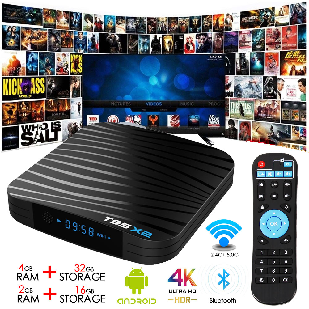 T95X2 Smart Network TV Receiver Android 8.1 Amlogic S905X2 Quad Core TV BOX 4G 32G 2.4G WIFI USB3.0 Set top box