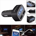 DC 12-24V 4 In 1 2 USB Ports Universal Dual USB Car Charger Adapter LCD Digital Voltage DC 5V 3.1A Tester for iPhone 6YYZ