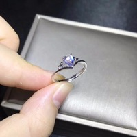 Natural moonstone ring, blue brilliance, 925 silver simple and exquisite, small and cute