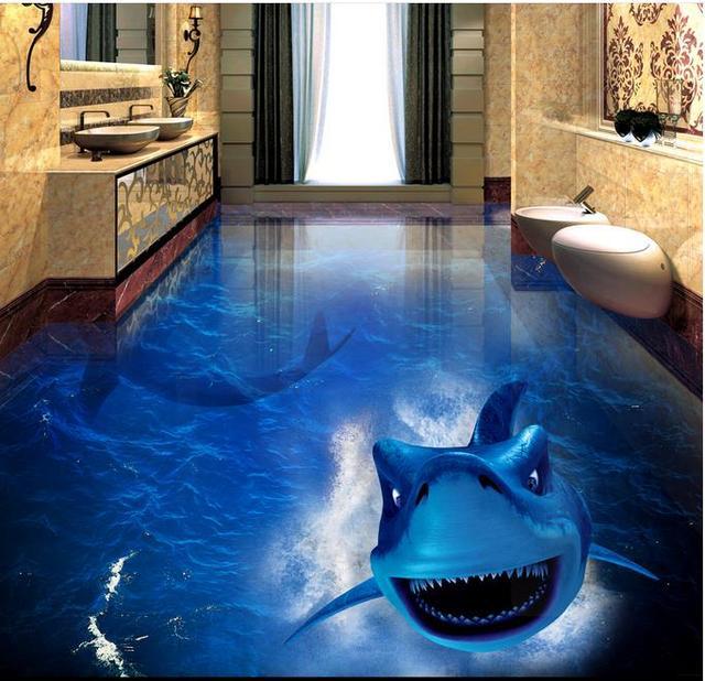 3d shark pisos dormitorio wallpaper 3d suelo impermeable for Parquet vinilo adhesivo