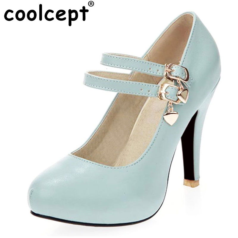 Coolcept women platform high heel shoes sexy spring Zapatos Mujer footwear fashion heeled pumps heels shoes size 31-43 P17529 2017 new spring summer shoes for women high heeled wedding pointed toe fashion women s pumps ladies zapatos mujer high heels 9cm