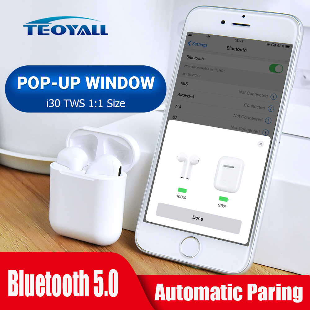 2019 i30 TWS ポップアップワイヤレス Bluetooth イヤホンタッチコントロールヘッドセット 1:1 サイズイヤフォンイヤホン充電 PK i10 airdots TWS