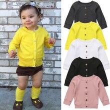 Модная одежда для новорожденных и маленьких девочек, вязаный свитер на пуговицах, кардиган, пальто, топы