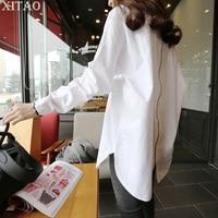[XITAO] 2018 Spring New Korea Fashion White Shirt Women Back Zipper Patchwork Loose Long Sleeve Turn Down Collar Shirt XWW2349