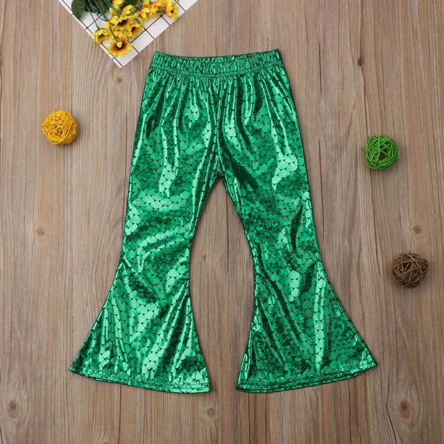 Yeni yürümeye başlayan çocuklar Çocuklar Bebek Kız Giysileri Kaplama Mermaid Tayt Geniş Bacak Flare Pantolon Pantolon 2-7Y