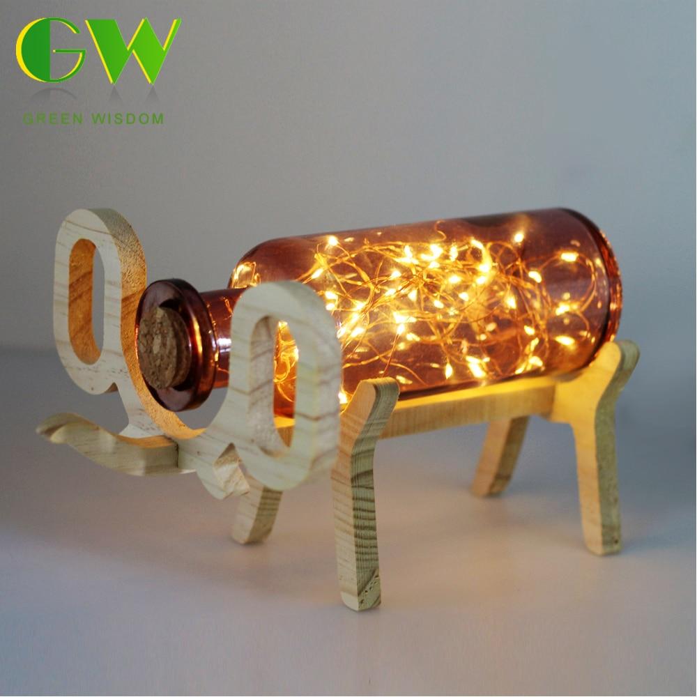 USB Charging LED Night Light Wooden Elephant Glass Bottle Lamp Home Bedside Bedroom Glass Elephant Table Lamp touching led usb charging bedside night light