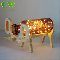 USB Charging LED Night Light Wooden Elephant Glass Bottle Lamp Home Bedside Bedroom Glass Elephant Table Lamp
