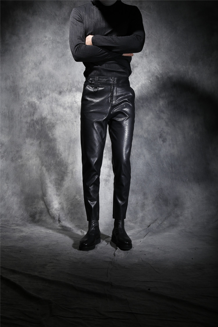 Winter male slim leather pants boot cut jeans fashion elastic drawstring waist leather casual harem trousers