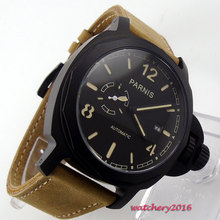Newest Hot 44mm PARNIS Black dial Complete Calendar PVD Case Luxury Sapphire Glass miyota automatic Mechanical Men's Wristwatch цена и фото