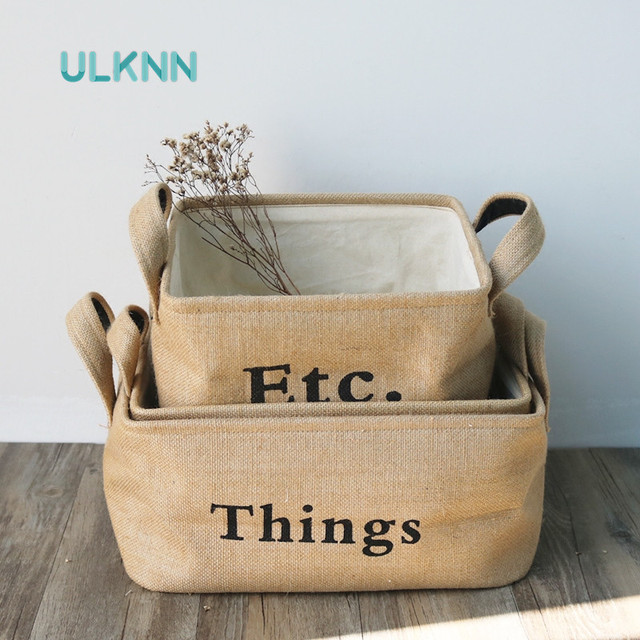 Japan Style Cotton Linen Storage Box For Sundries Thick Underwears/Toys  Storage Baskets Multi