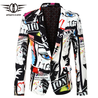 Plyesxale Hip Hop Mens Blazer Jacket European And American Style Casual Male Blazer Fashion Printed Designs Stage Costume Q485
