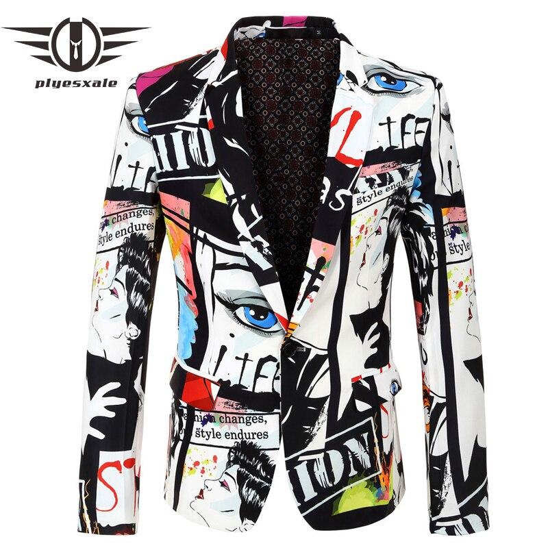 Plyesxale الهيب هوب رجل السترة سترة الأوروبية والأمريكية نمط عارضة الذكور سترة الأزياء المطبوعة تصاميم المرحلة زي Q485-في السترات من ملابس الرجال على  مجموعة 1