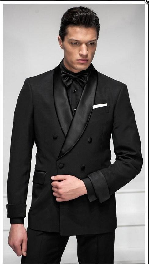 Dark Grey Mens Suits Groom Tuxedos Three Custom Made Great ...