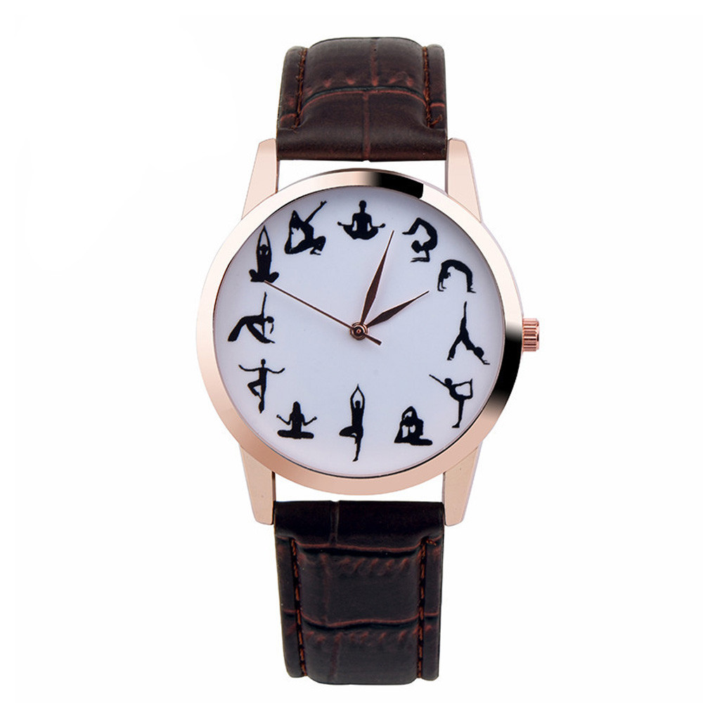 Casual Watch YOGA Pattern Printed Watch Analog Round Case Dial Leather Pin Buckle Quartz Wrist Watch For Women Men J73 adjustable wrist and forearm splint external fixed support wrist brace fixing orthosisfit for men and women