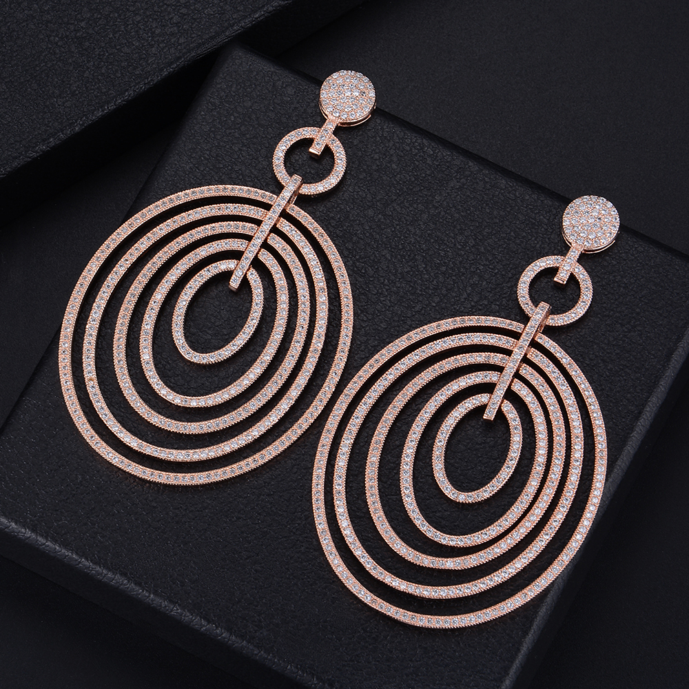 85mm Luxury Geometric Hollow Round Circle Full CZ Drop Dangle Earrings For Girls Women Party