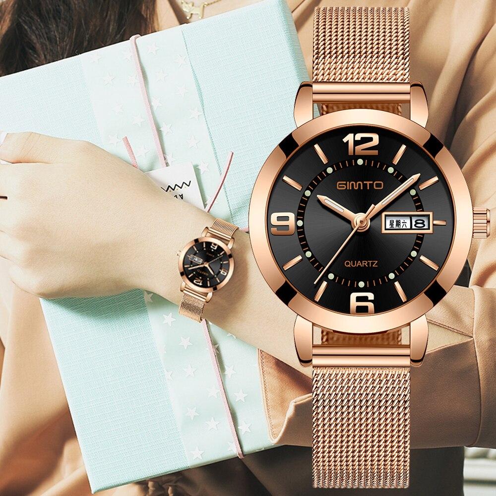 2018 GIMTO Rose Gold Women Watches Luxury Thin Stainless Steel Ladies Dress Calendar Week Small Quartz Wristwatch Female Clock