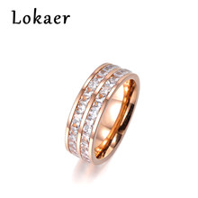 Lokaer Simple Design Multilayer Pave Two Row Clear Cubic Zirconia Rose Gold Color Titanium Steel Anniversary Wedding Women Ring(China)