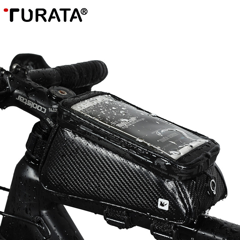 TURATA Bike Bicycle Mobile Phone holder Bag for iPhone X 8 7 Samsung XIAOMI Touch Screen Frame Front Head Top Tube WaterproofTURATA Bike Bicycle Mobile Phone holder Bag for iPhone X 8 7 Samsung XIAOMI Touch Screen Frame Front Head Top Tube Waterproof