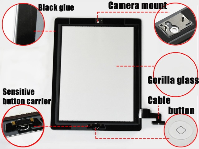 Touch Screen Digitizer Assembly For iPad 3 4 2 5 Mini 1 2 3 with Home button Camera Holder adhesive