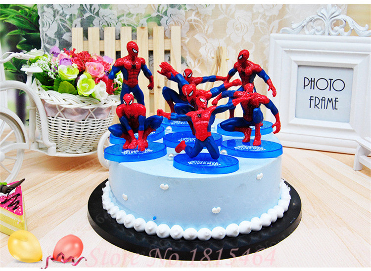 Fine 7Pcs Set Spider Man Pvc Doll Toy Topper Boy Birthday Cake Topper Funny Birthday Cards Online Elaedamsfinfo