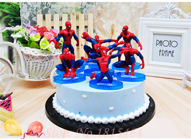 7pcs Set Spider Man PVC Doll Toy Topper Boy Birthday Cake Kids