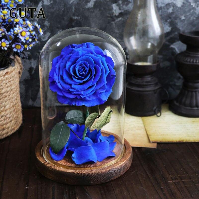 Новинка, красивая и чудовищная Роза в стеклянном куполе, светодиодный светильник, украшение для дома на День святого Валентина, рождественские подарки - Цвет: Blue