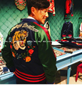 singer men costume dance performance show party nightclub bar tiger flower letter embroidered jacket with thick baseball jacket