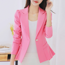 Autumn Blazers 2017 New Fashion Single Button Blazer Women Long Sleeve Suit Jacket Pink Black Pink Blue Female Blazer Femme black single button blazer with irregular hem