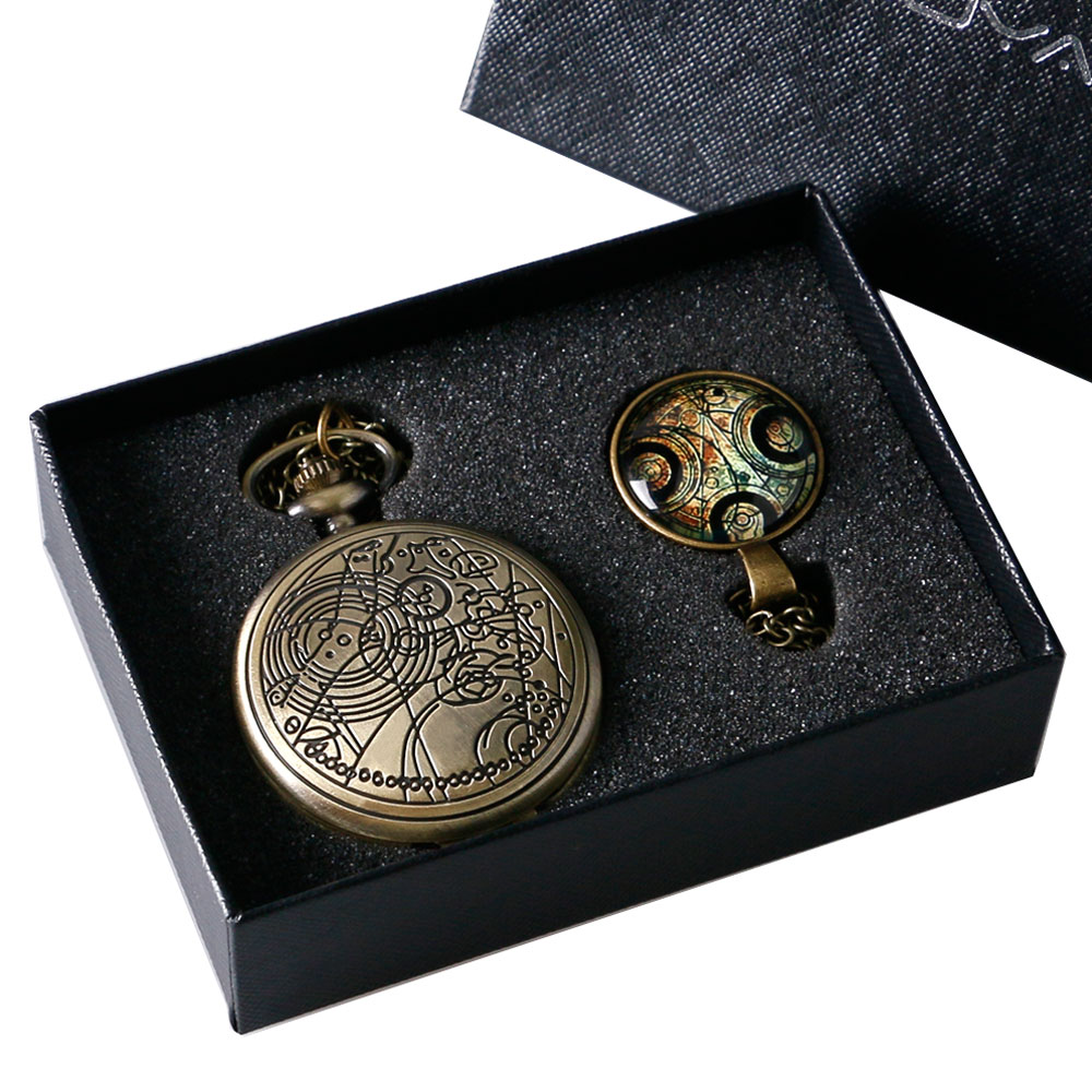 Bronze Doctor Who Theme Antique Pocket Watch Set With Dr Who Symbols Design Pendant Gift Box