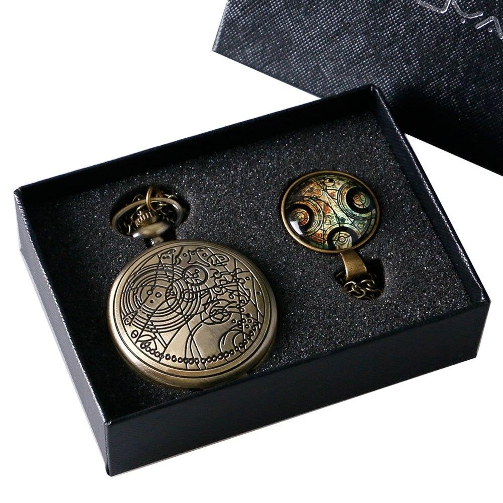 Bronze Doctor Who Theme Antique Quartz Pocket Watch Set With Dr Who Symbols Design Pendant Box