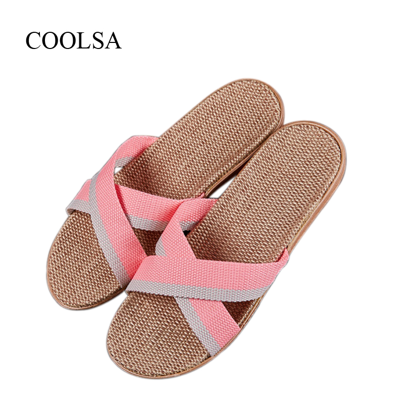 COOLSA Women's Breathable Non-slip Cross-tied Linen Slippers Mixed Colors Flat Indoor Slippers Flax Flip Flops Women's Slides coolsa women s summer flat non slip linen slippers indoor breathable flip flops women s brand stripe flax slippers women slides