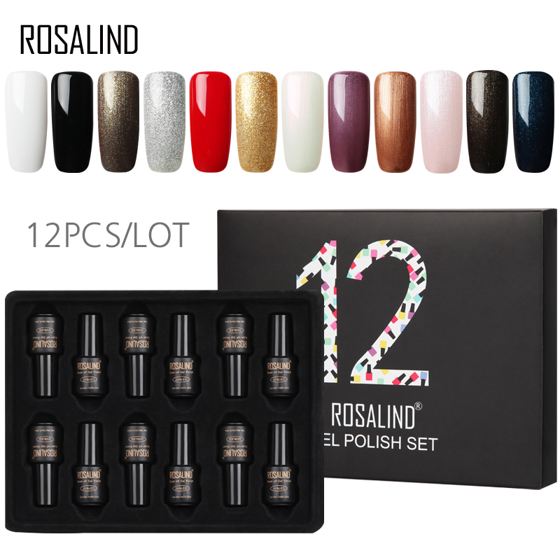 12PCS/LOT ROSALIND Gel Varnishes Set 7ML Long Lasting Pure Color Nail Art Manicure Set Need Base Top Coat Nail Gel Polish Set12PCS/LOT ROSALIND Gel Varnishes Set 7ML Long Lasting Pure Color Nail Art Manicure Set Need Base Top Coat Nail Gel Polish Set