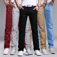 Cozimastarla גברים מכנסיים מכנסיים ארוכים מזדמן אופנתי הלבשה צבע מוצקה חדשות עזיבות רך Buttoms זכר רגליים צרות Pantalon Homme