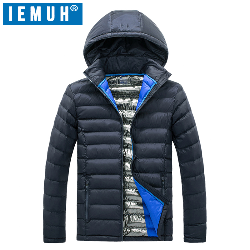 IEMUH Brand Sport Men Hiking Down Jacket Nylon Warm Windproof Thermal Winter Male Skiing Camping Feather Cotton Jacket