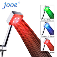 LED Shower Head Hand Held Square Automatic Color Changing Shower Water Saving Temperature Bathroom Accessories Home