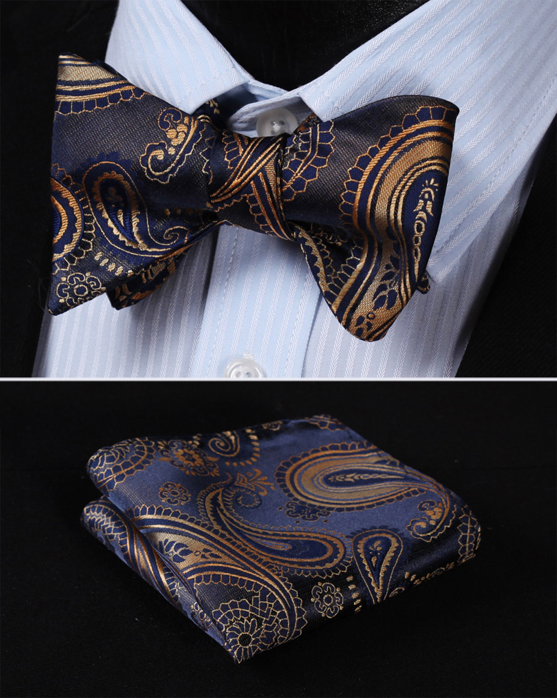 Pocket Square Classic Party Wedding BF427VS Navy Blue Gold Floral Bowtie Men Silk Self Bow Tie Handkerchief Set