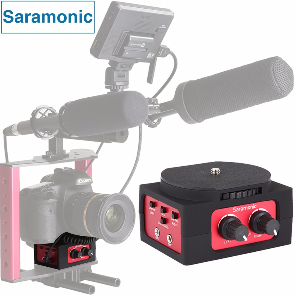 Saramonic SR-AX101 2-Channel Audio Mixer Microphone Adapter with XLR & 3.5mm Inteface for Canon Panasonic DSLR Camera&Camcorder saramonic 2 channel audio mixer preamp microphone adapter dual xlr 6 3mm 3 5mm inputs for iphone 7 smartphone guitar dslr camera