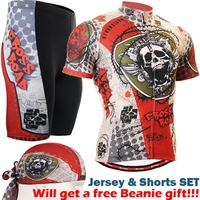 2017 Men Bicycle Jersey with skulls Quick dry Breathable Outdoor Sports Cycling Jersey 3D Padded Cycling Clothing Set