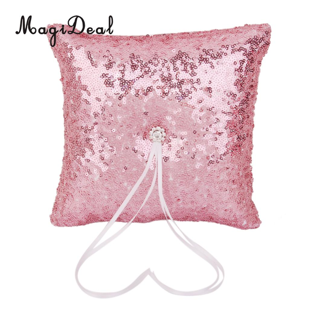 MagiDeal Wedding Ring Pillow Satin Ribbon Rhinestone Sequins Bearer ...