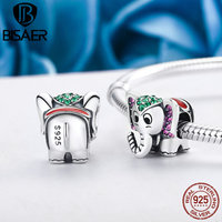 925 Sterling Silver Mild Animal Lucky Elephant Charms Beads Fit Original BISAER Bracelet Pendant Authentic Jewelry