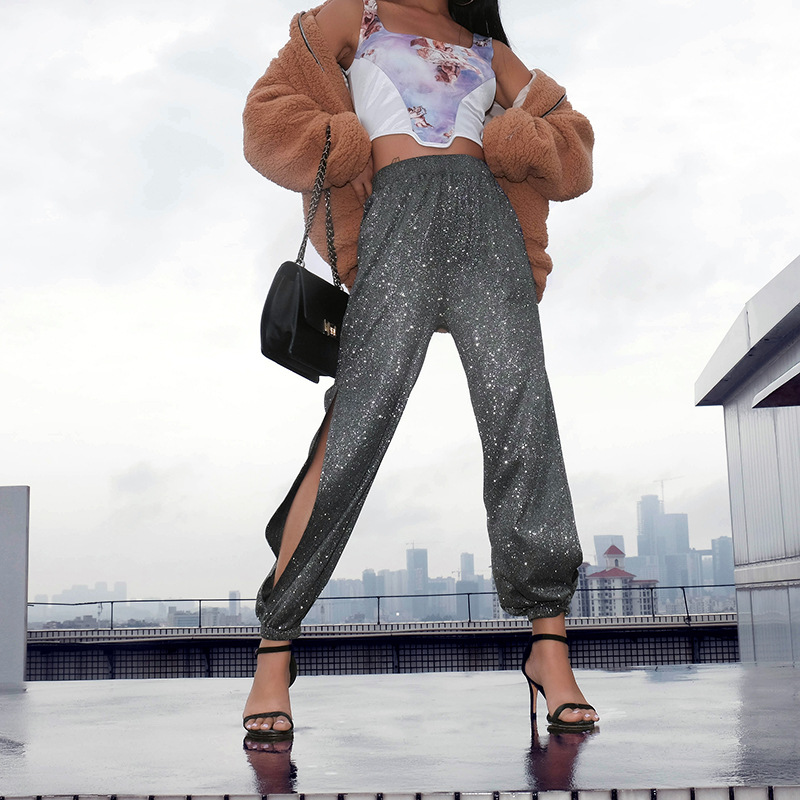 Women Bright Side Slit Pants 2019 New Summer Fashion Ins Hip Hop Street Dance Pencil Pants Female