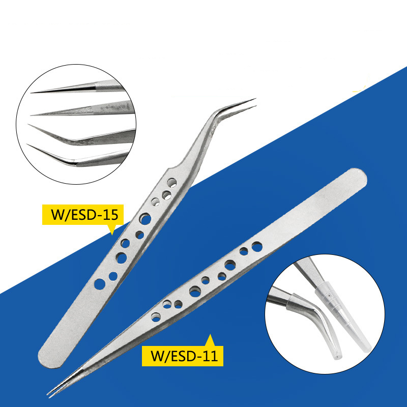 High precision perforated stainless steel camera elbow tip DIY tweezers clip electronic phone repair tool anti-static