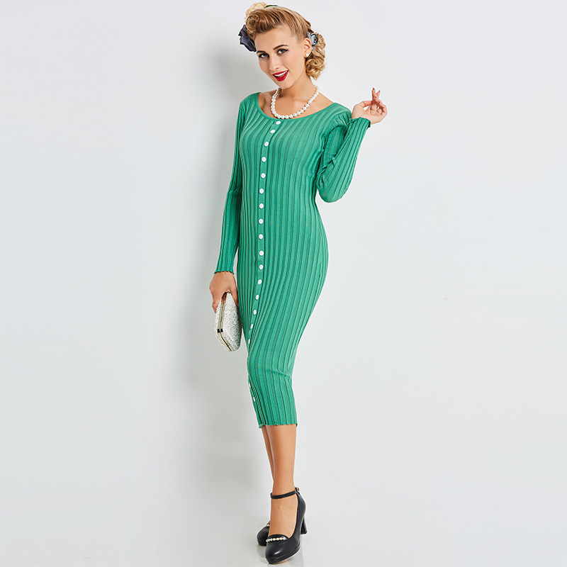Sisjuly 2017 Autumn Women Retro Knitted Fabrics Green Bodycon Sheath Sweater Dresses Mid Calf Party Dress O Neck Collar Dresses